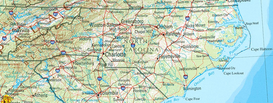 StateMaster USA Maps State Maps - North carolina on usa map
