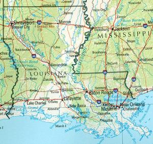 Click for larger map of Louisiana